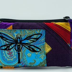 Handmade Purple Fabric Pouch With Dragonfly