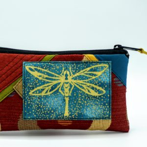 Handmade Red Fabric Pouch With Dragonfly