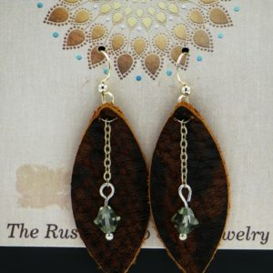 Leather Earrings With Stone