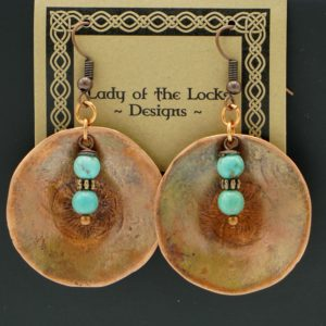 Copper Earrings With Turquoise Beads