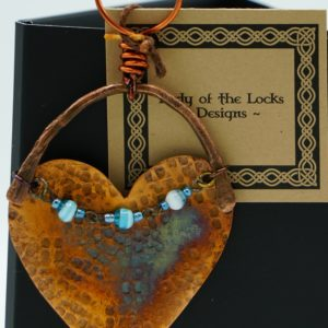 Copper Ornament With Blue Beads