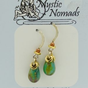 Sterling Silver Earrings With Green Stone