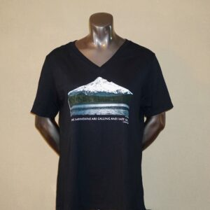 V-Neck Short Sleeve Woman's T-Shirt W/Mt Hood